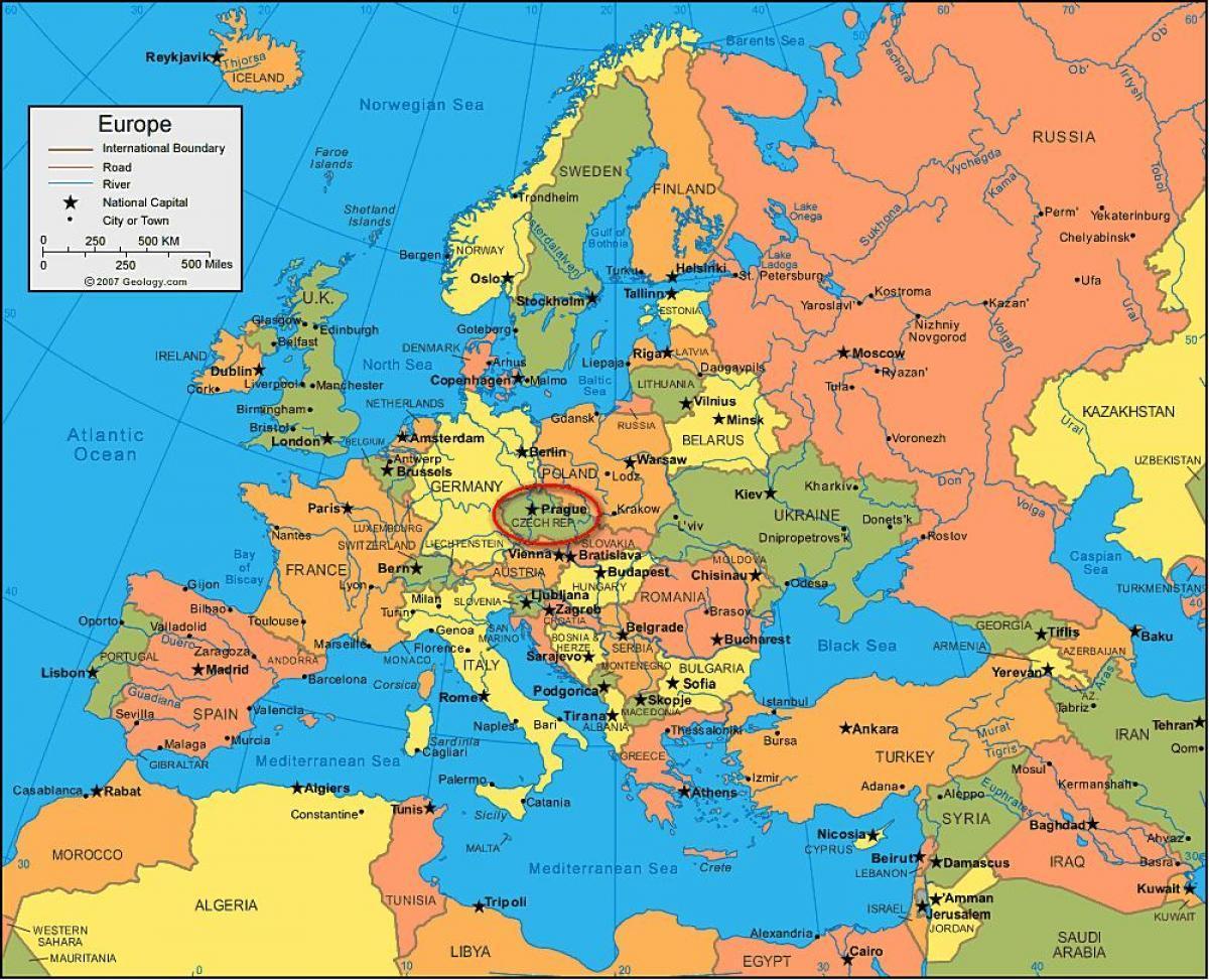 Cartina Europa.Praga Mappa Dell Europa Cartina Dell Europa Che Mostra Praga Boemia Repubblica Ceca